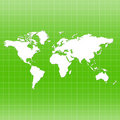 World Map On Grid - Green Color Stock Images - 16111814