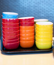 Stacks Of Colored Bowls Stock Image - 16190871