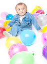 Little Baby In Balloons Royalty Free Stock Image - 16221046