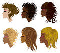 Vector Set Of Trendy Hair Styling For Woman Royalty Free Stock Image - 16236406