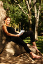 Young Pretty Woman Reading In The Park Royalty Free Stock Photography - 16281197