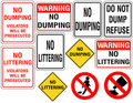 Set Of No Dumping Or Littering Signs Royalty Free Stock Photo - 16324905