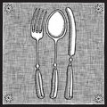 Cutlery Woodcut Royalty Free Stock Photography - 16326647