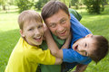 Dad Plays With Young Children Royalty Free Stock Photo - 16380345