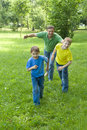 Dad Plays With Young Children Royalty Free Stock Image - 16380356