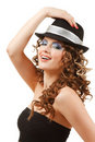 Portrait Of Beautiful Dancing Girl In Hat Royalty Free Stock Photos - 16384258