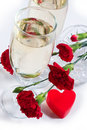 Champagne, Flowers And Heart Royalty Free Stock Image - 1642976