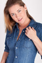 Woman With Jeans Shirt Royalty Free Stock Photo - 16441885