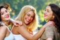 Young And Beautiful Girlfriends Have Fun In Park Royalty Free Stock Photo - 16451505