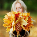Woman Portret In Autumn Leaf Royalty Free Stock Image - 16549396