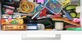 Secrets Of The Stationery Drawer Exposed On White Stock Photos - 16564843