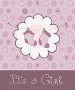 Baby Girl Arrival Announcement Card Royalty Free Stock Image - 16592056