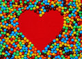 White Heart Shape With Candy Background Stock Photo - 1663400