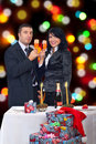Couple Celebrate Christmas Night Stock Image - 16616581