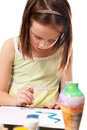 Little Girl Paints With Watercolors Stock Photography - 16618692