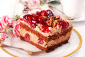 Chocolate And Cherry Cake With Walnuts Stock Images - 16635684