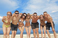 Team Of Friends At The Beach Royalty Free Stock Images - 16756609