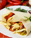 Chicken And Vegetable Taco Shells Royalty Free Stock Photo - 16786095