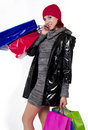Young Redhead Woman Goes Holiday Shopping Stock Photography - 16796482