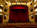 Old Theater Stage And Red Curtain Royalty Free Stock Photography - 16804977