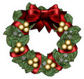 Wreath With Red Bow & Gold Balls Royalty Free Stock Photography - 16844047