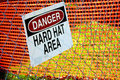 Danger Hart Hat Area Sign In Construction Zone Royalty Free Stock Photo - 16873905