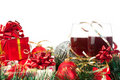 Holiday Gifts And Wine Glasses Stock Photos - 16913883