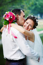 Romantic Kiss Happy Bride And Groom Stock Images - 16948474