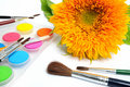 Sunflower With Paintbox Stock Images - 16970604