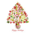 Christmas Tree Abstract With Swirls Hearts Circles Royalty Free Stock Photography - 16977737