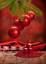 Xmas Decoration - Red Balls And Candles Stock Images - 17026594