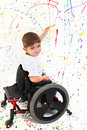 Boy Child Painting Wheelchair Disability Royalty Free Stock Photography - 17030587