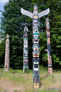 Totem Poles In Stanley Park Stock Photography - 17078492