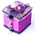 Purple Gift Box With A Rose Isolated. Royalty Free Stock Photo - 17135915