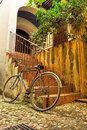 Old Bicycle In Courtyard Royalty Free Stock Photography - 17168437