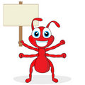 Cute Little Red Ant With Wood Sign Stock Photos - 17179313