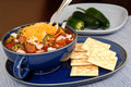 Bowl Of Spicey Chili And Crackers With Jalapeno Peppers Royalty Free Stock Photos - 1728608