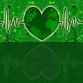Earth Global Map Green Heart Beat Graph Royalty Free Stock Photos - 17205418