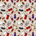 Seamless Medieval People Pattern Royalty Free Stock Photography - 17260697