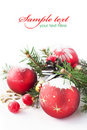 Xmas Tree And Baubles On The Snow Royalty Free Stock Photos - 17264268