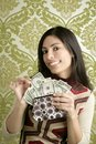 Retro Purse Dollar Woman Vintage Wallpaper Royalty Free Stock Photography - 17282597