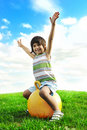 Little Happy Boy Playing With Big Ball Royalty Free Stock Photography - 17300047