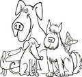 Group Of Five Dogs For Coloring Royalty Free Stock Images - 17303819