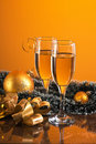Glasses Of Wine And Christmas Decoration Royalty Free Stock Images - 17306959