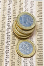 Euro Coins On A Financial Newspaper Royalty Free Stock Image - 17319926