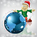 Christmas Greeting Dwarf With Globe On White Stock Photos - 17343283