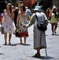 Beggar On The Streets Of Florence, Italy  Royalty Free Stock Images - 17356069