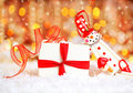 Holiday Background With Cute Snowman Stock Photos - 17357093