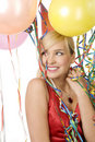 Red Dressed Girl In Party With Balloons Stock Photos - 17365123
