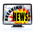 Breaking News - High Definition Television HDTV Royalty Free Stock Photo - 17371385